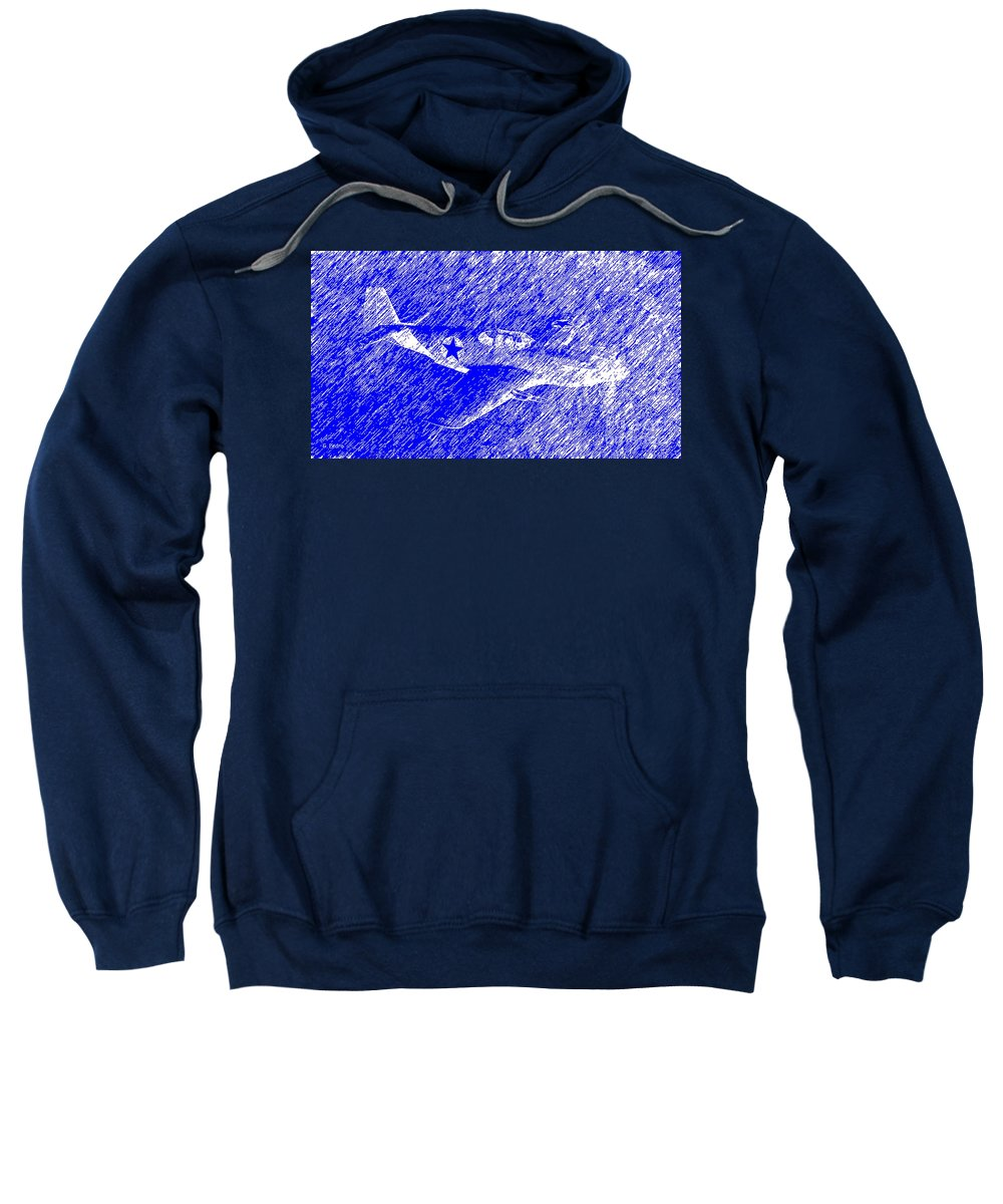 P 51 Sweatshirt featuring the painting P 51 Mustang Flying In The Rain by George Pedro