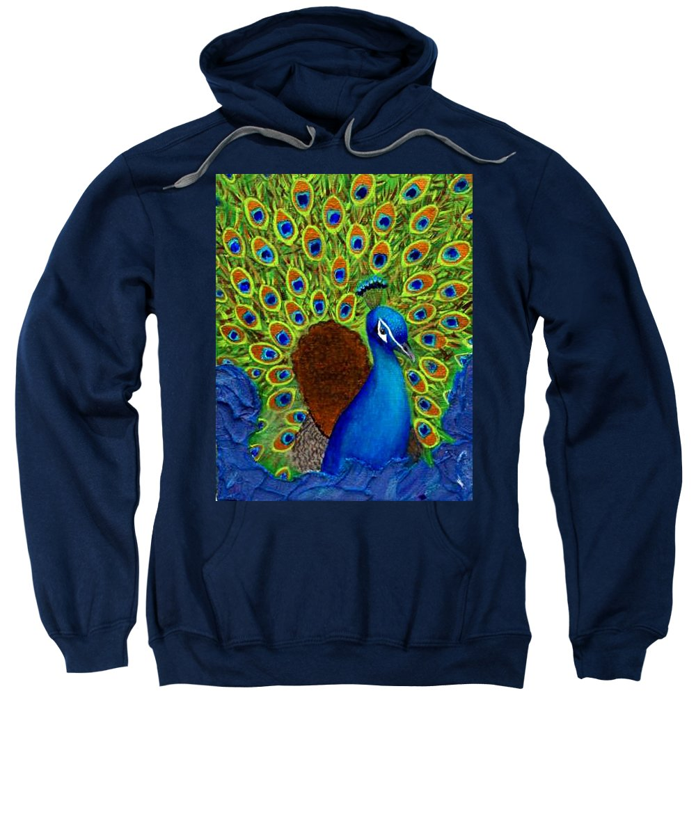 Peacock Print Sweatshirt featuring the painting Peacock's Delight by The Art With A Heart By Charlotte Phillips