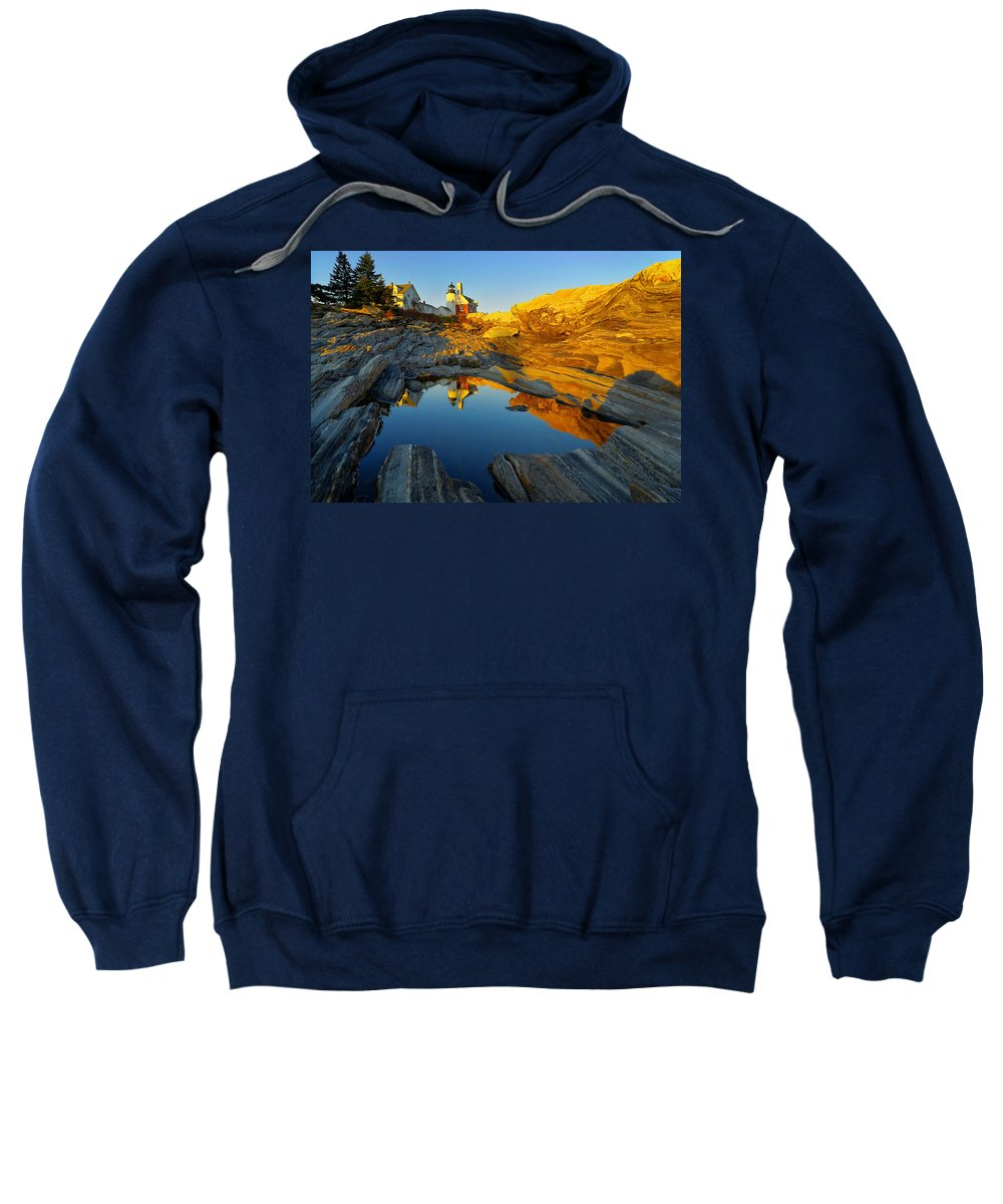 Lighthouse Sweatshirt featuring the photograph Pemaquid Point Reflection 2 by Jack Daulton