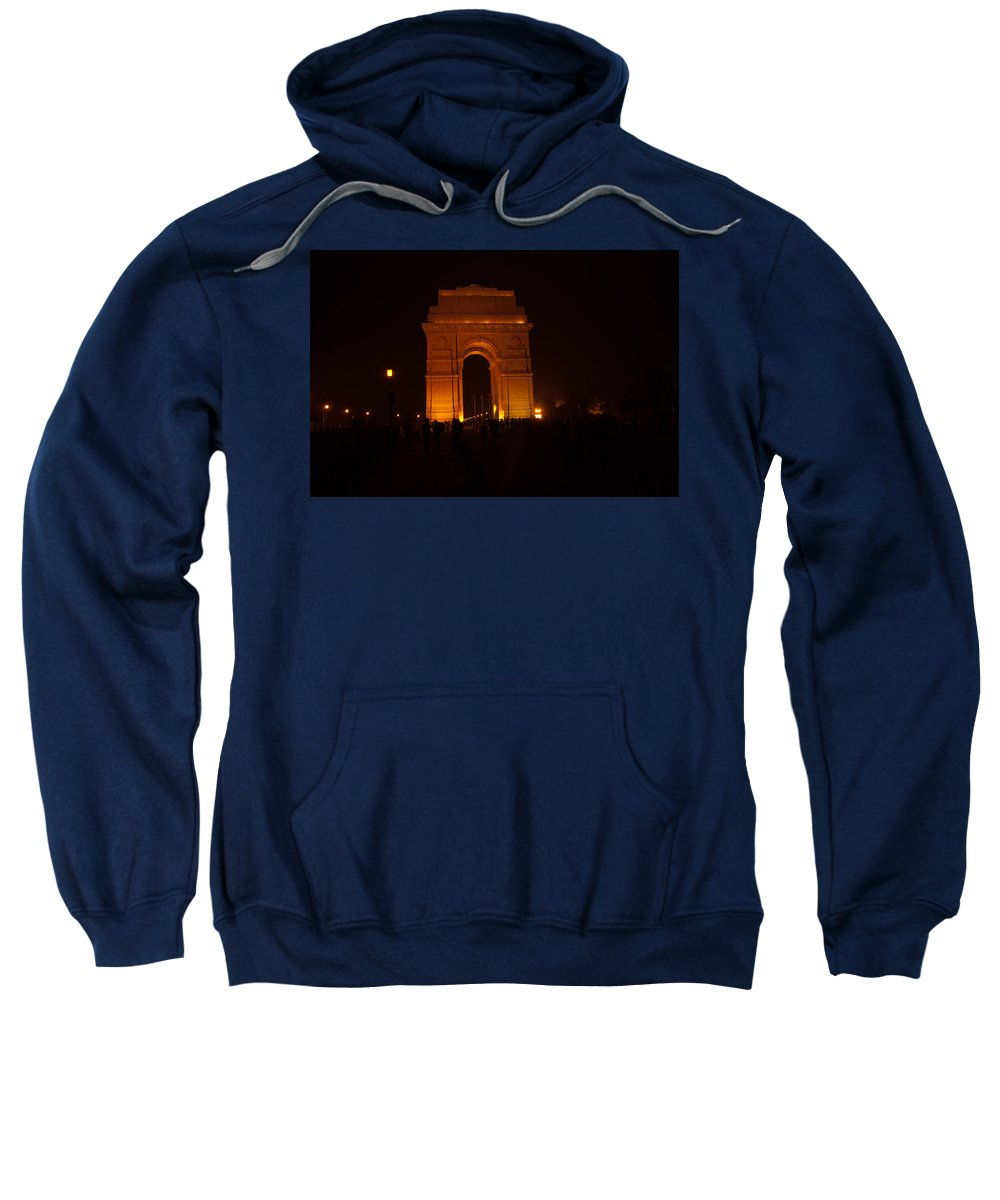 India Gate Sweatshirt featuring the photograph People Gathered Around India Gate by Ashish Agarwal