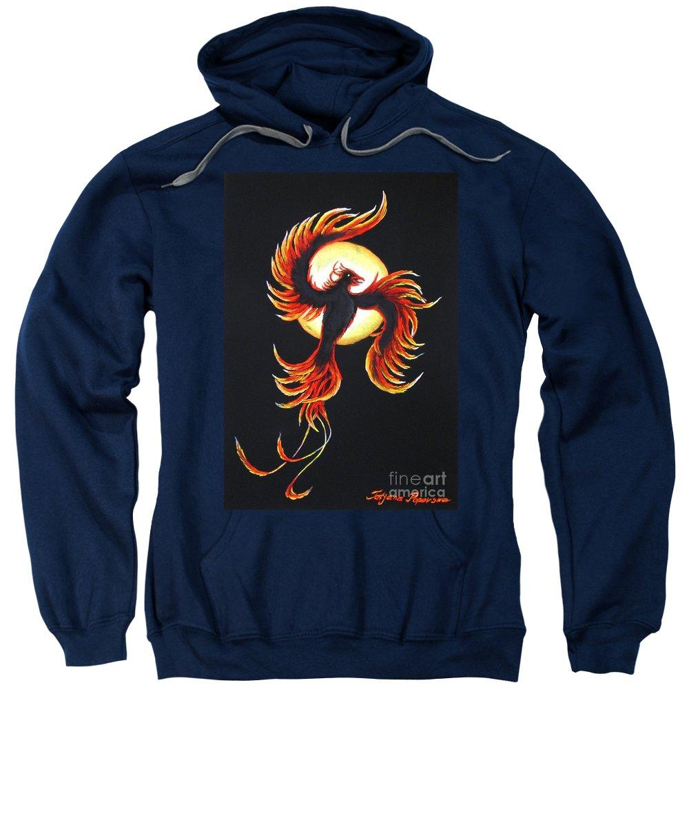 Phoenix Sweatshirt featuring the painting Phoenix by Tatjana Popovska