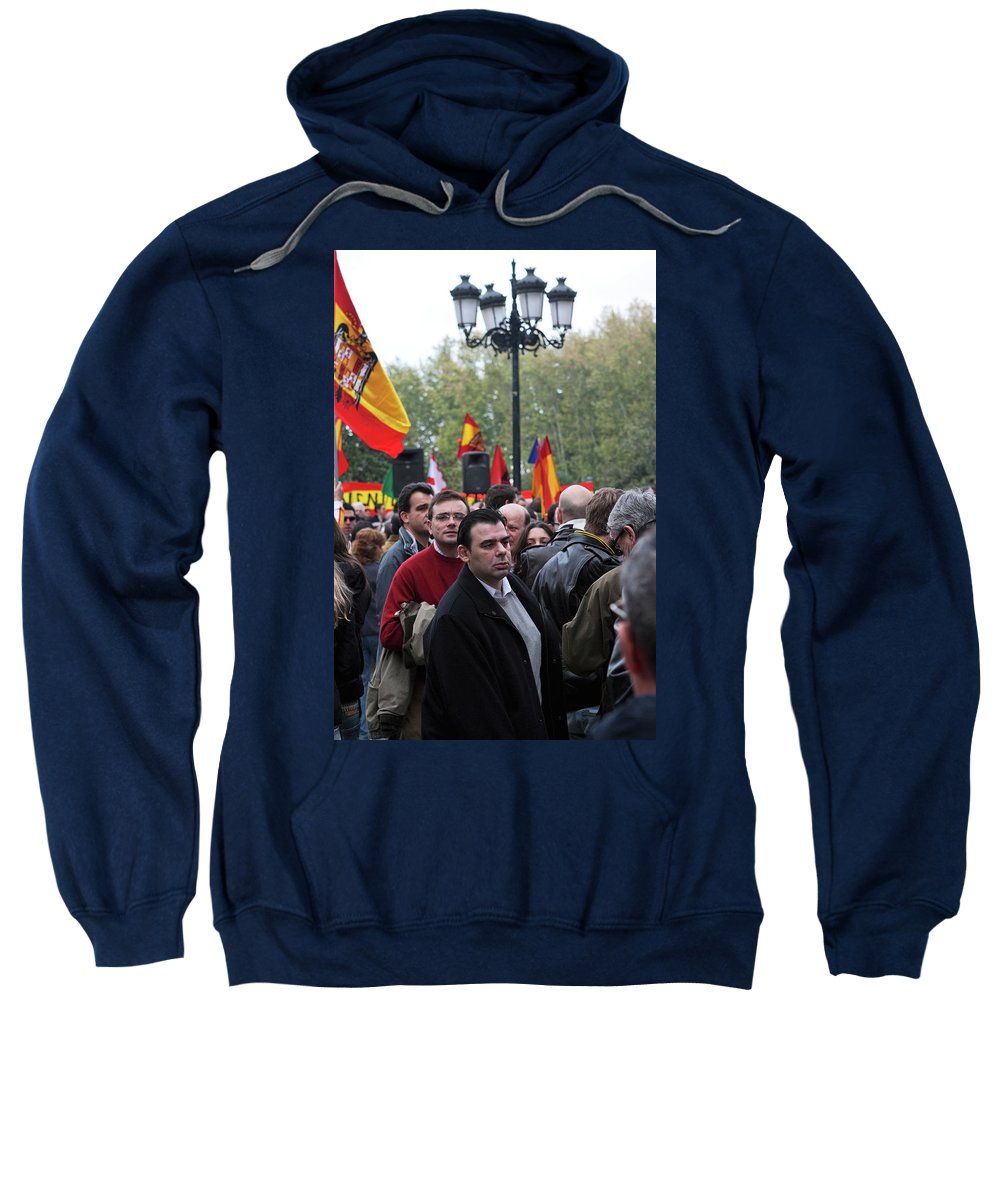 Madrid Sweatshirt featuring the photograph Protest In The Plaza by Lorraine Devon Wilke