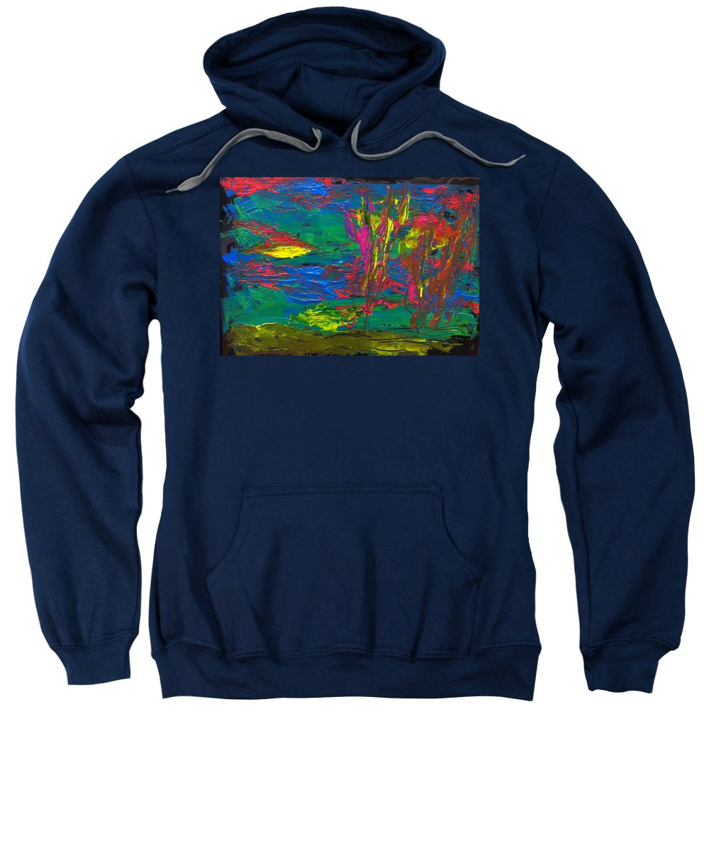 Blue Sweatshirt featuring the painting Psychedelic Sea by Gail Eisenfeld