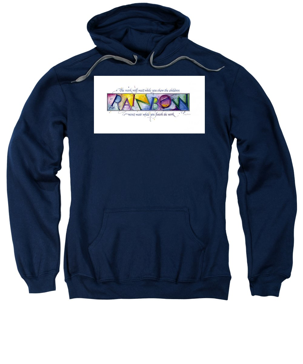 Adoption Sweatshirt featuring the painting Rainbow by Judy Dodds