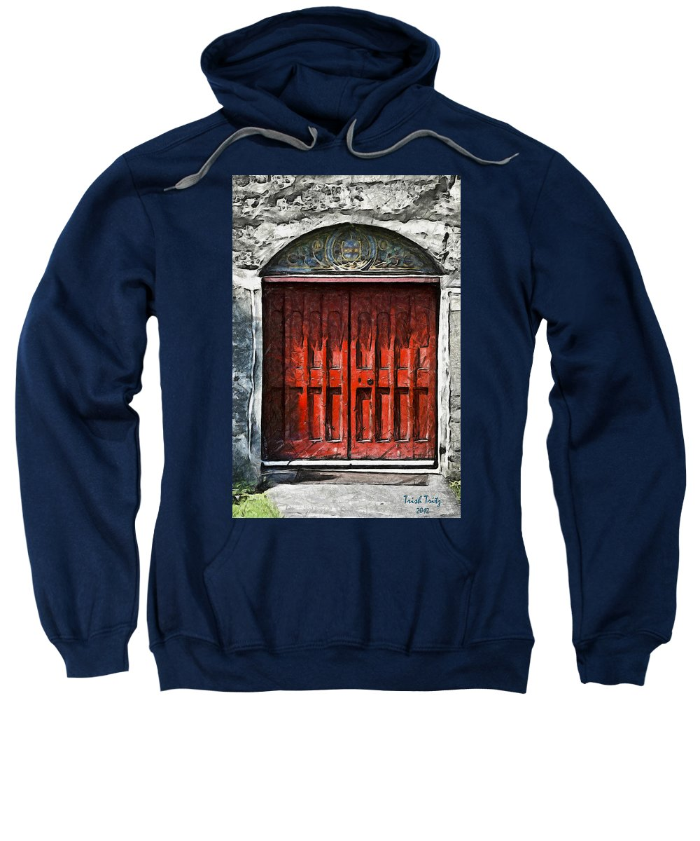 Red Sweatshirt featuring the photograph Red Door by Trish Tritz