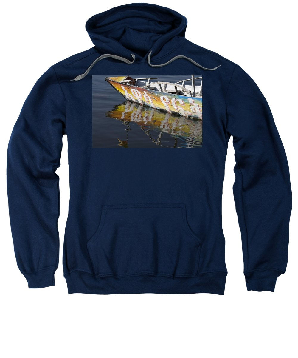 African Sweatshirt featuring the photograph Reflection Of Boat In Lake Ethiopia by David DuChemin