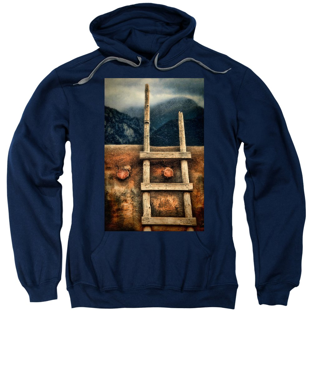 Adobe Sweatshirt featuring the photograph Rustic Ladder On Adobe House by Jill Battaglia