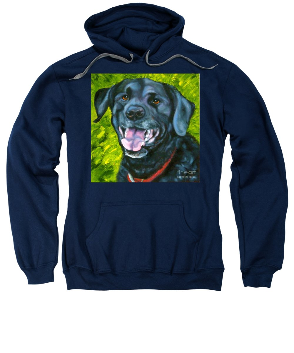 Dog Sweatshirt featuring the painting Smiling Lab by Susan A Becker