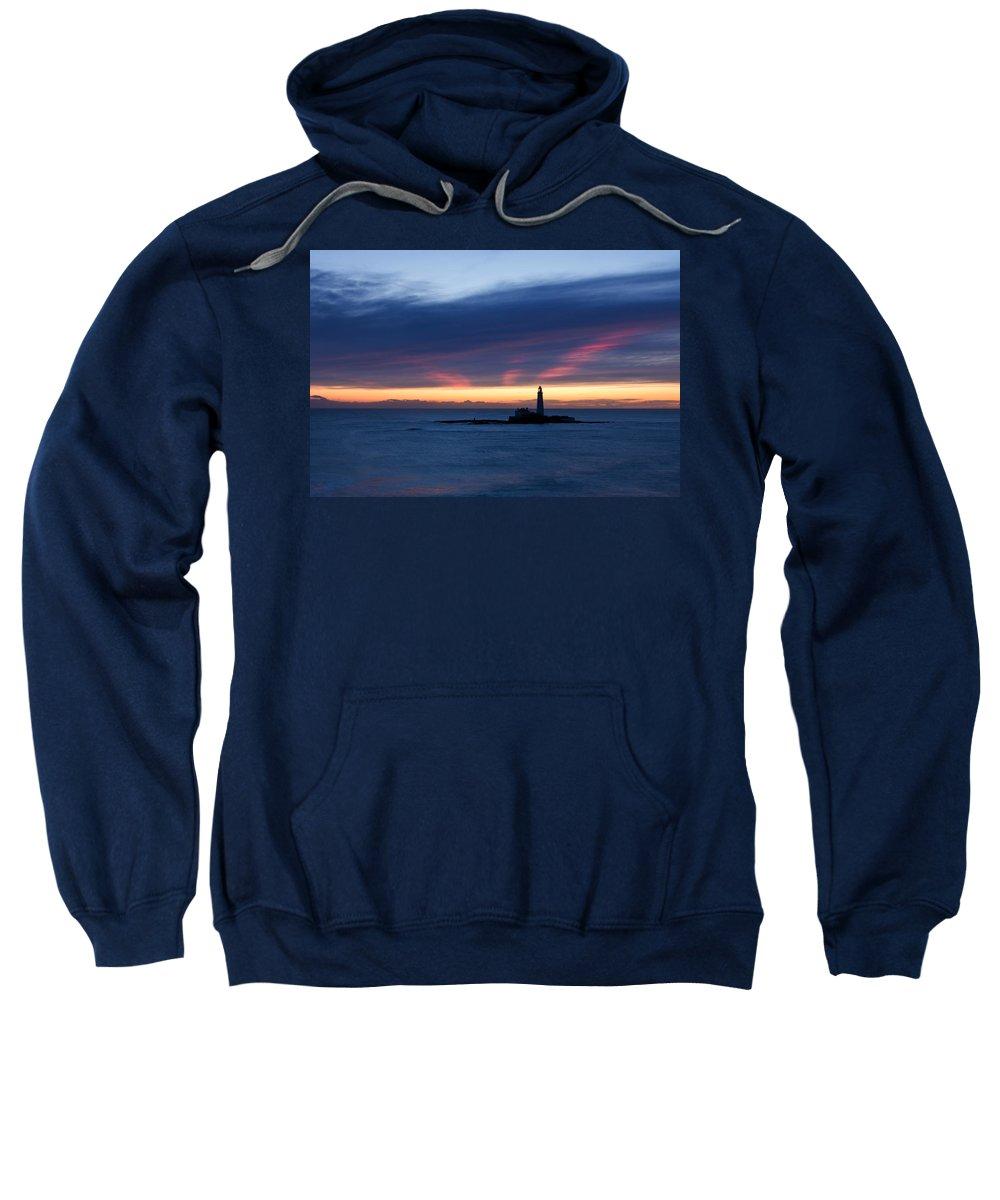 St Marys Sweatshirt featuring the photograph St Marys Lighthouse Sunrise by David Pringle