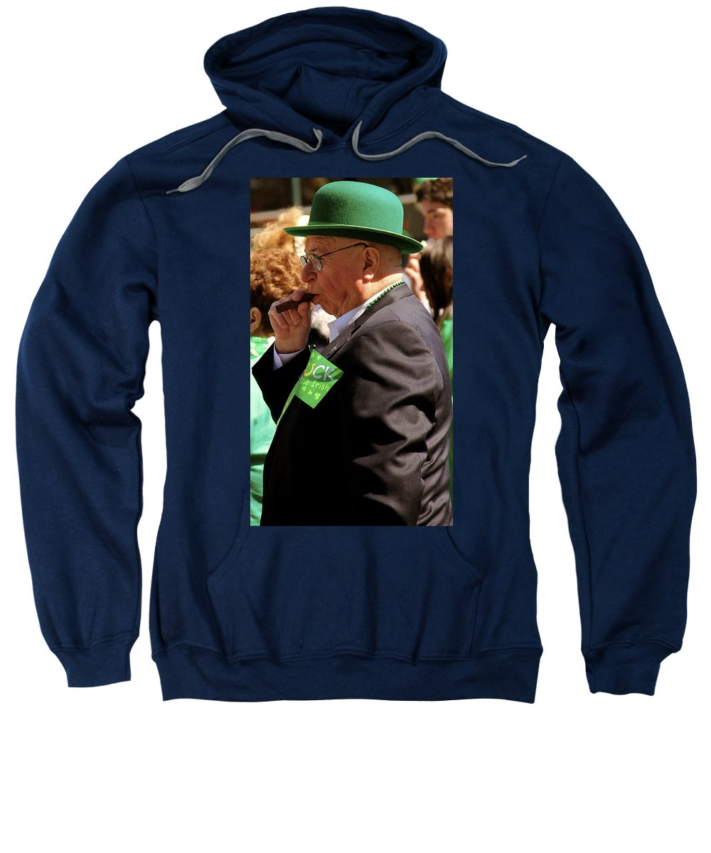 St Pattys Day Parade Philadelphia Man Smoking Cigar Green Fedora Portrait Sweatshirt featuring the photograph St Pattys Green by Alice Gipson