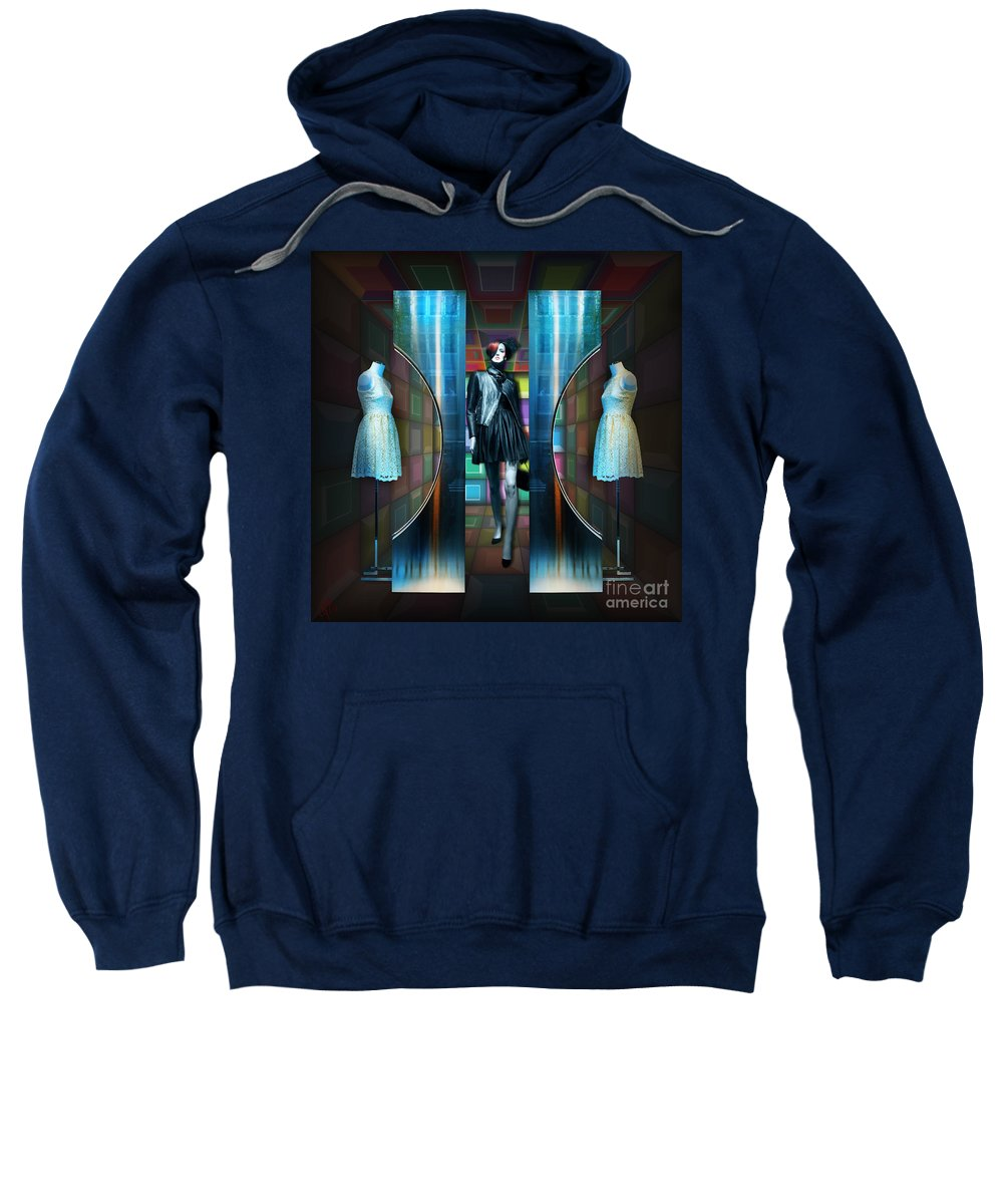 Mannequins Sweatshirt featuring the digital art Steel Eyes Mannequin by Rosa Cobos