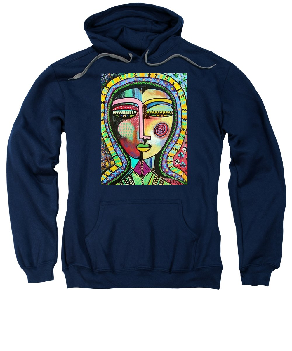 Women Sweatshirt featuring the painting -talavera Virgin Of Guadalupe Protection by Sandra Silberzweig