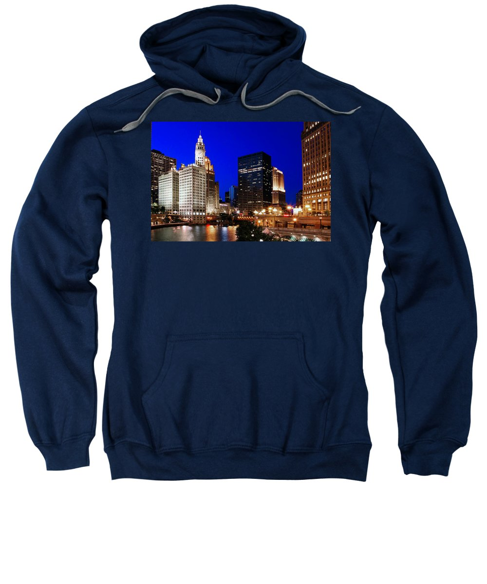 Chicago Sweatshirt featuring the photograph The Chicago River by Rick Berk