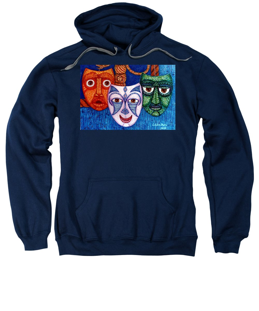 Madwoman Sweatshirt featuring the painting The Joy The Anger And The Fear by Madalena Lobao-Tello