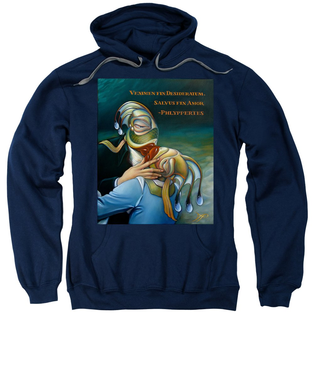 Lip Sweatshirt featuring the painting The Kiss by Patrick Anthony Pierson