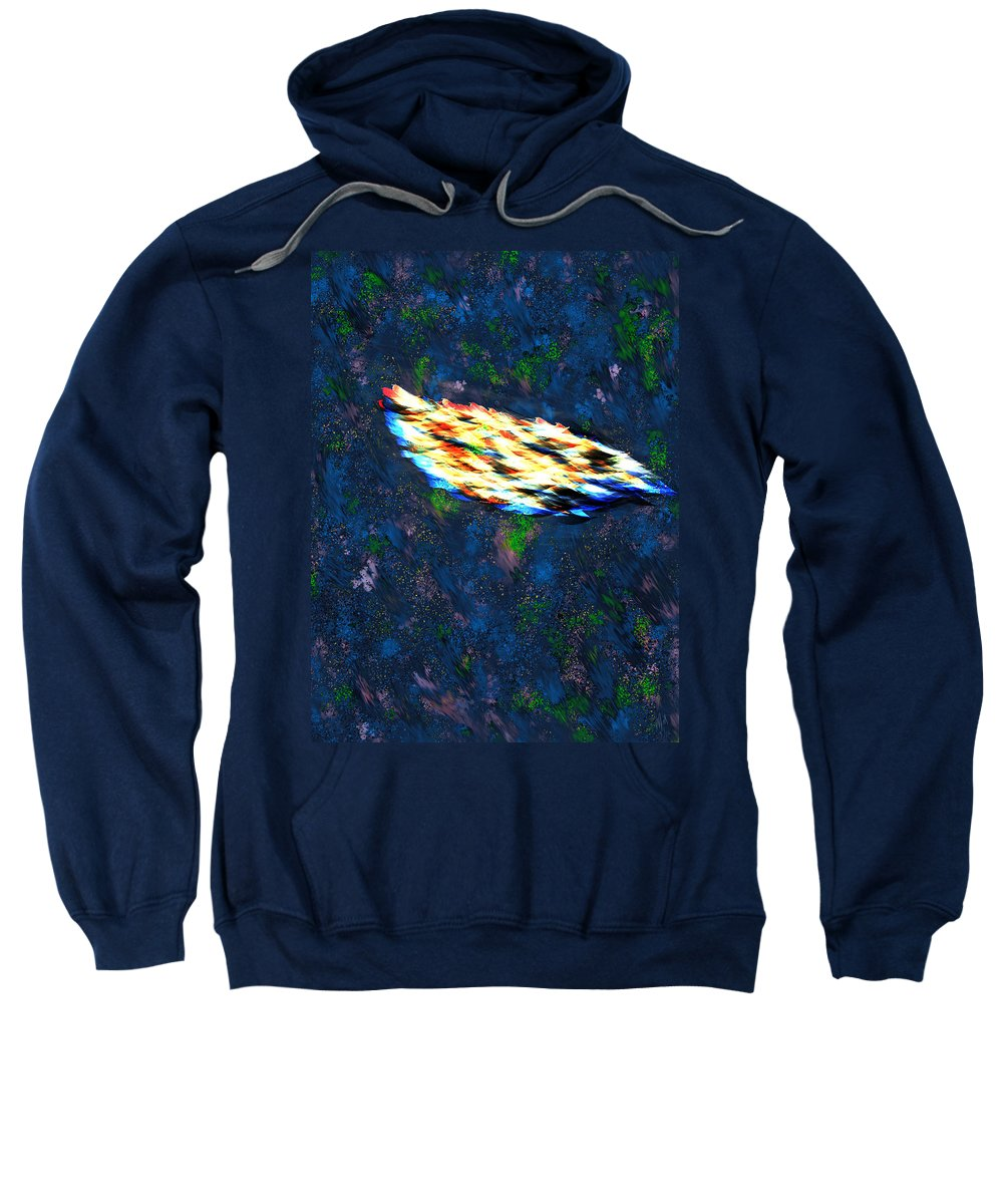 Last Sweatshirt featuring the digital art The Last Angel Feather by Mathieu Lalonde