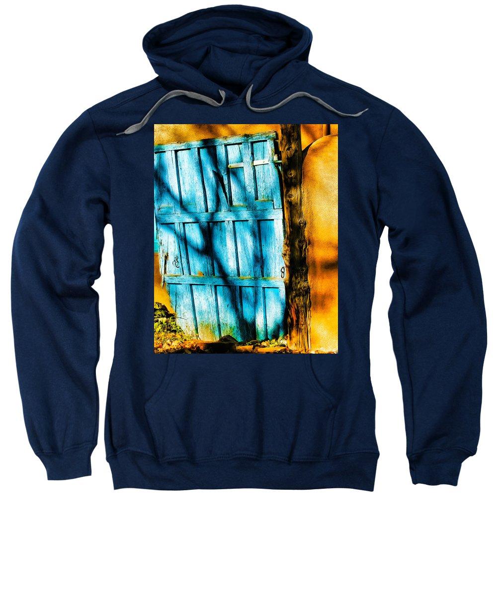 Door Sweatshirt featuring the photograph The Old Blue Door by Terry Fiala