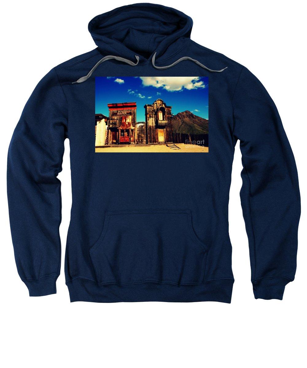 Sombrero Bank Sweatshirt featuring the photograph The Sombrero Bank In Old Tuscon Arizona by Susanne Van Hulst