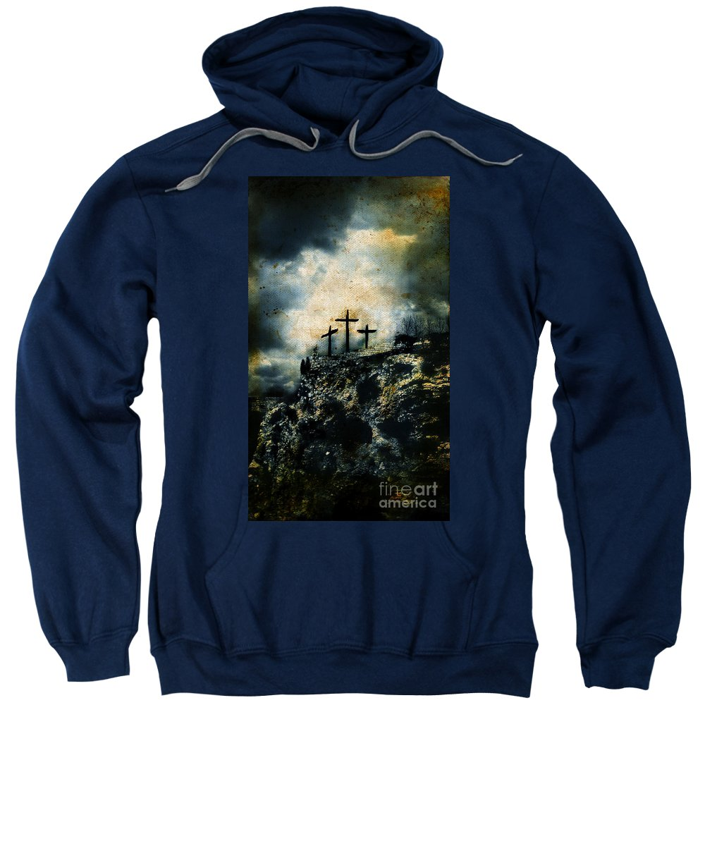 Copy-space Sweatshirt featuring the photograph Three Crosses On Golgotha Grunge Background by Jill Battaglia