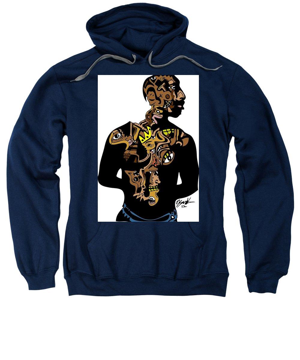 Tupac Sweatshirt featuring the digital art Tupac Full Color by Kamoni Khem