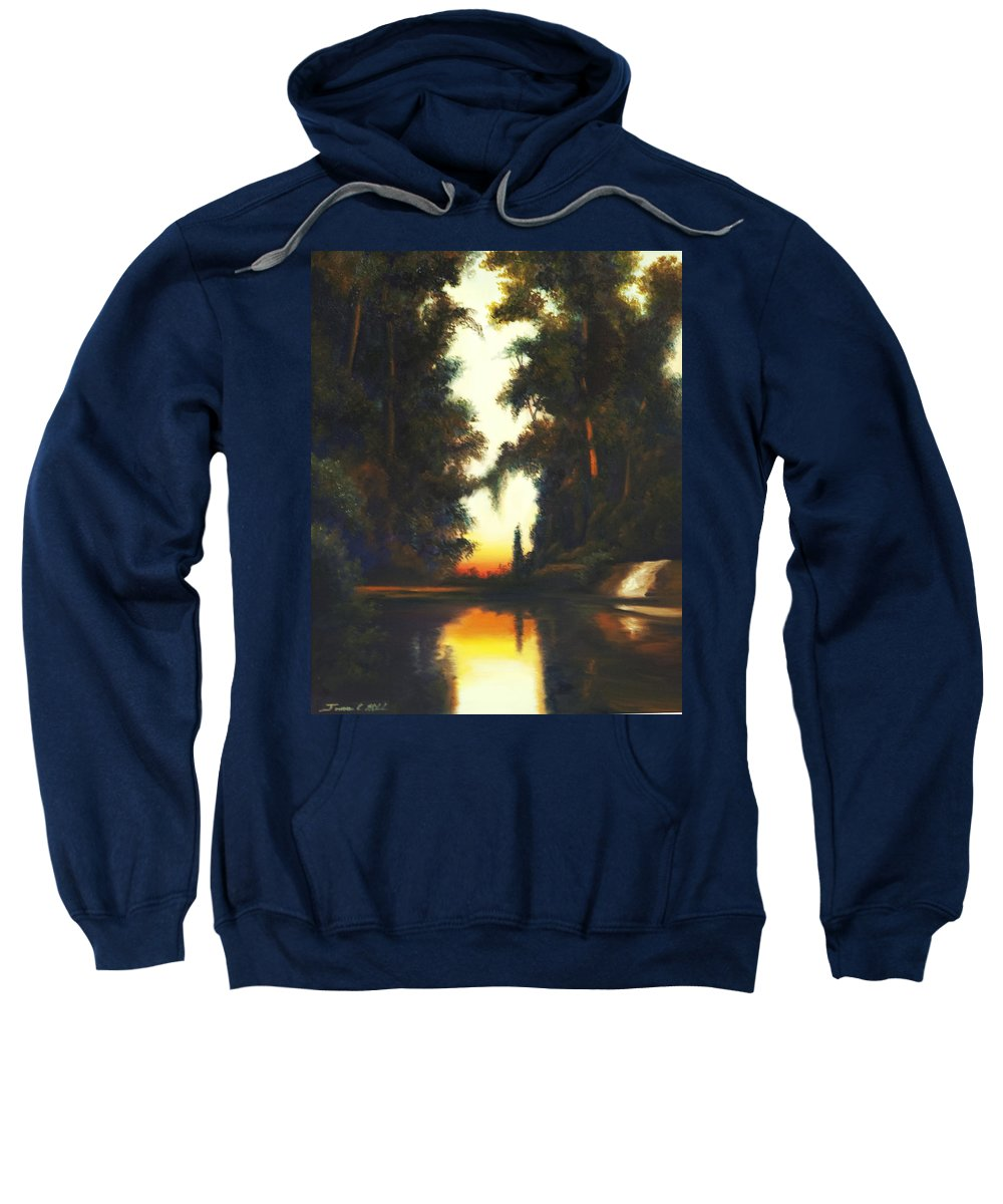 Nature; Lake; Sunset; Sunrise; Serene; Forest; Trees; Water; Ripples; Clearing; Lagoon; James Christopher Hill; Jameshillgallery.com; Foliage; Sky; Realism; Oils Sweatshirt featuring the painting Turner's Sunset by James Christopher Hill