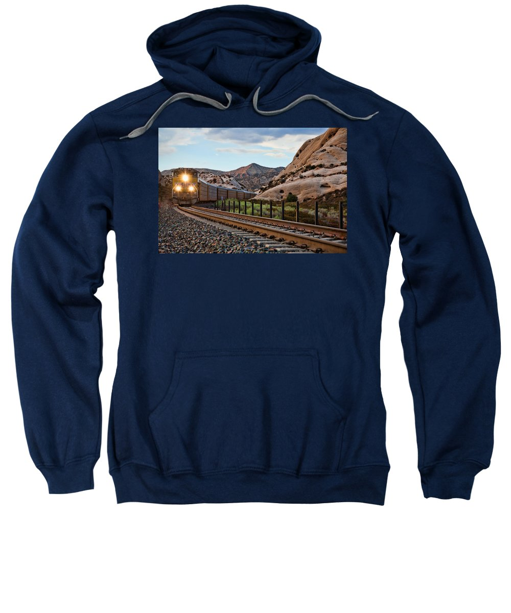Union Pacific Sweatshirt featuring the photograph Union Pacific Tracks by Peter Tellone