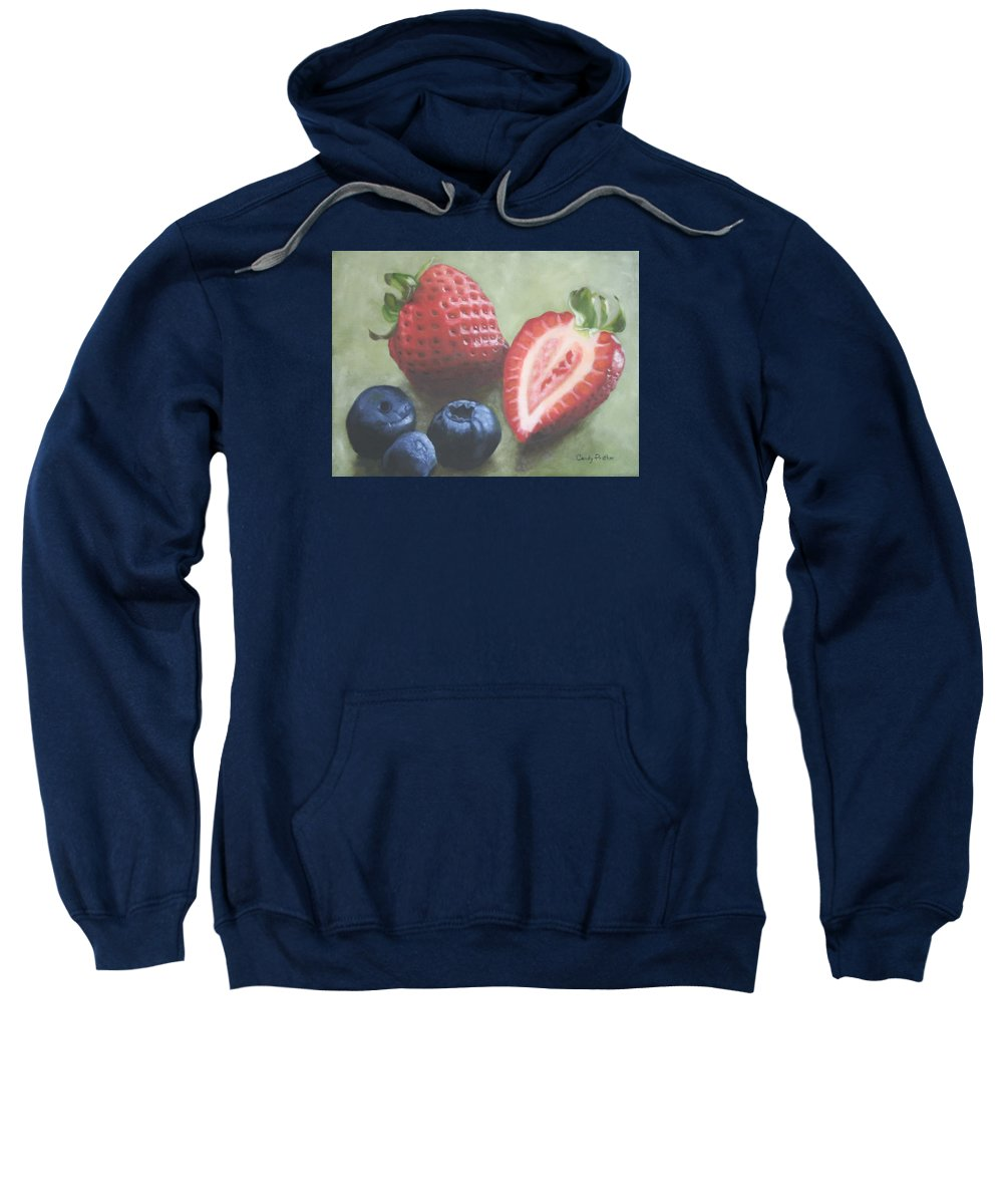 Strawberries Sweatshirt featuring the painting Very Berry by Candy Prather