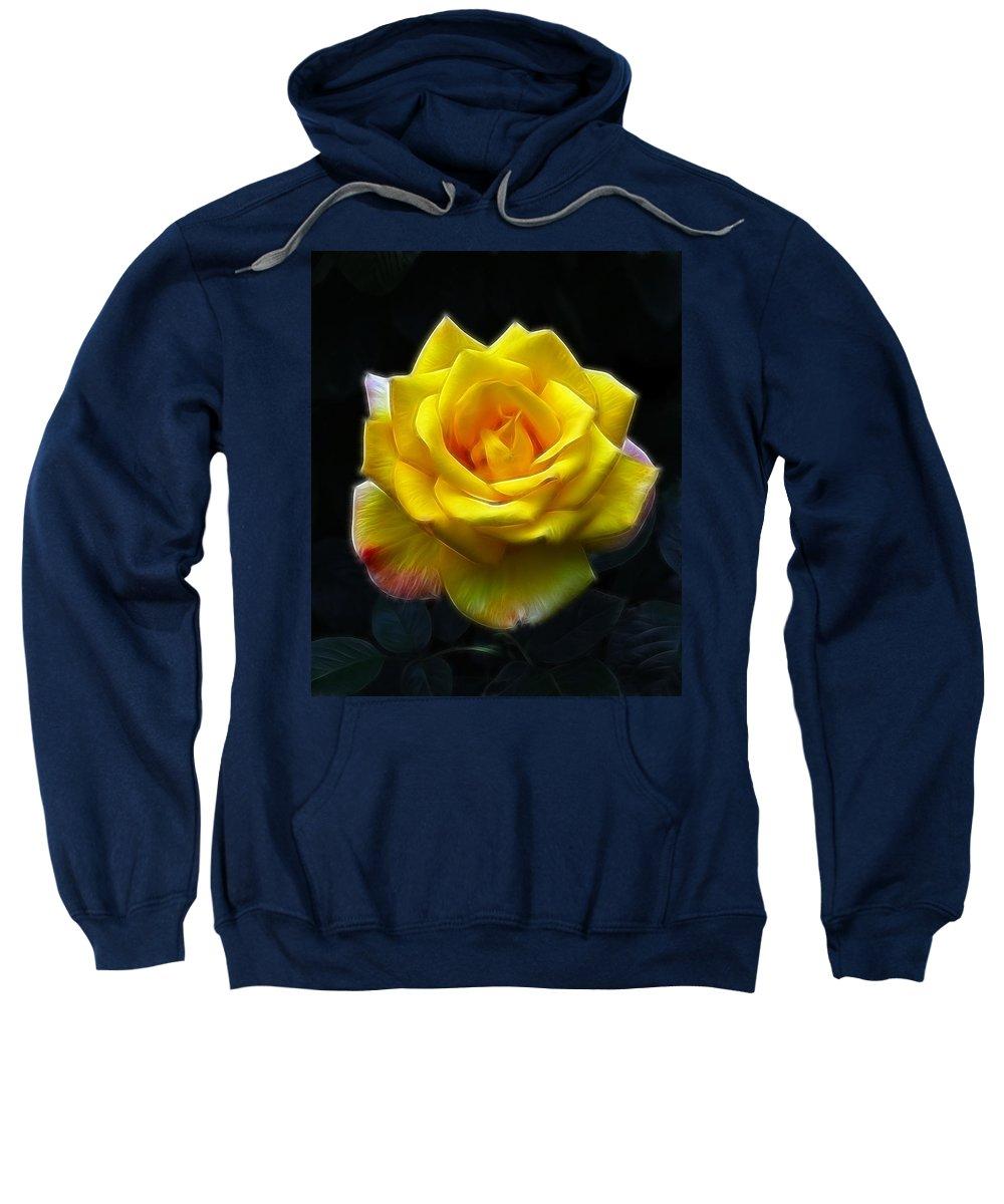 Yellow Rose In The Moonlight.rose Sweatshirt featuring the photograph Yellow Rose In The Moonlight by Georgiana Romanovna