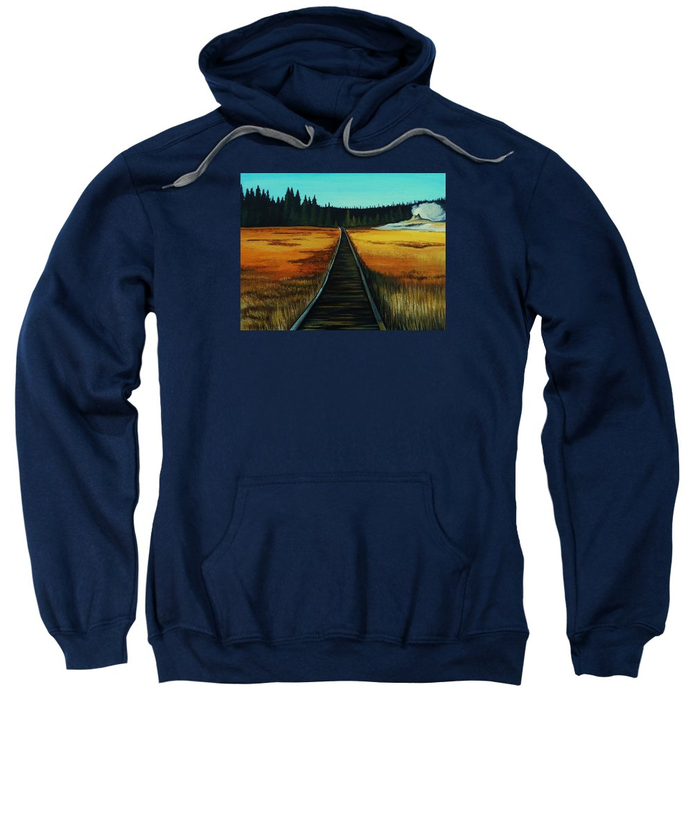 Yellowstone Sweatshirt featuring the painting Yellowstone Boardwalk by Lucy Deane
