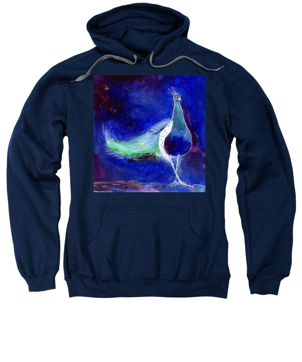 Star Sweatshirt featuring the painting Peacock Blue by Nancy Moniz