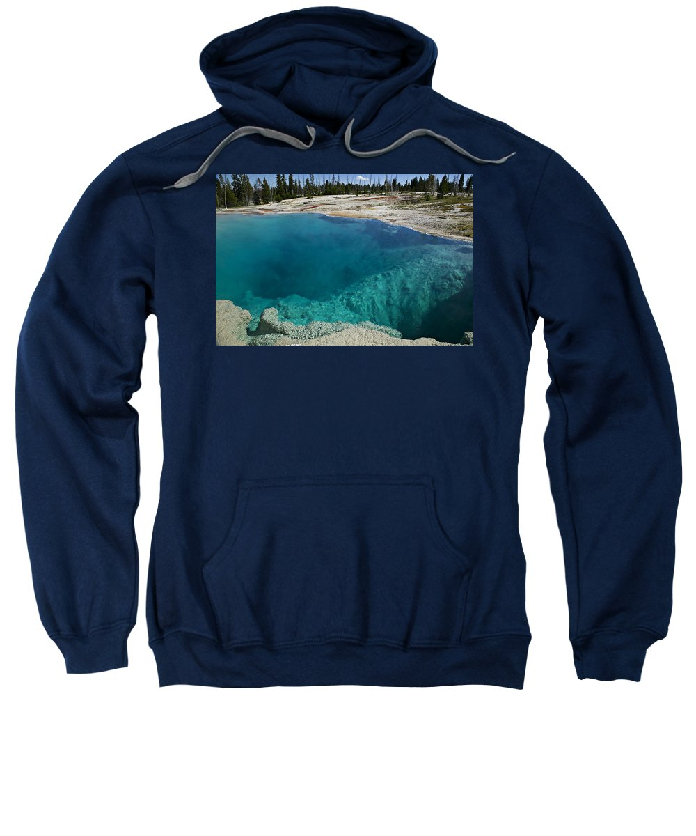 Hot Sweatshirt featuring the photograph  Turquoise Hot Springs Yellowstone by Garry Gay