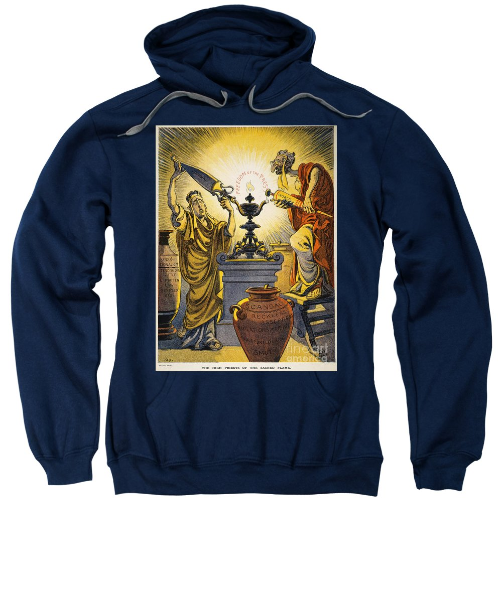 1909 Sweatshirt featuring the painting Yellow Journalism, 1909 by Granger