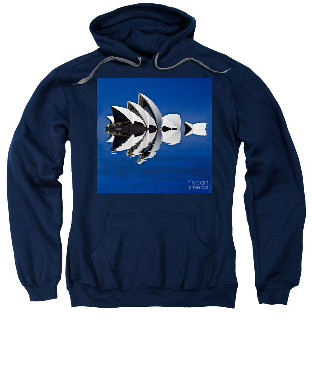 Sydney Opera House Sweatshirt featuring the photograph Abstract Of Sydney Opera House by Sheila Smart Fine Art Photography