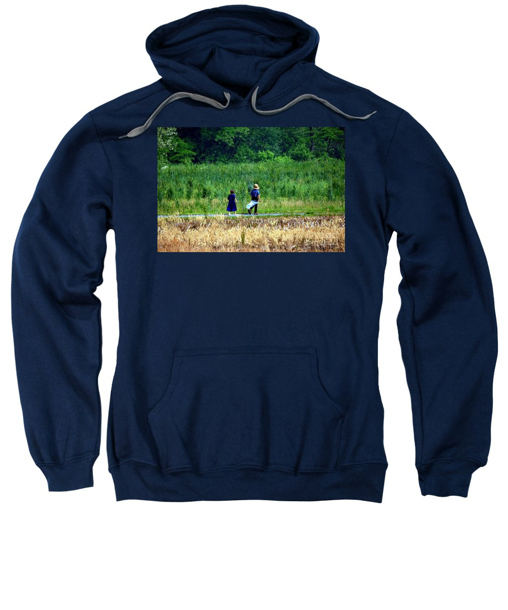 Amish Sweatshirt featuring the photograph Amish Brother And Sister by Randy Matthews