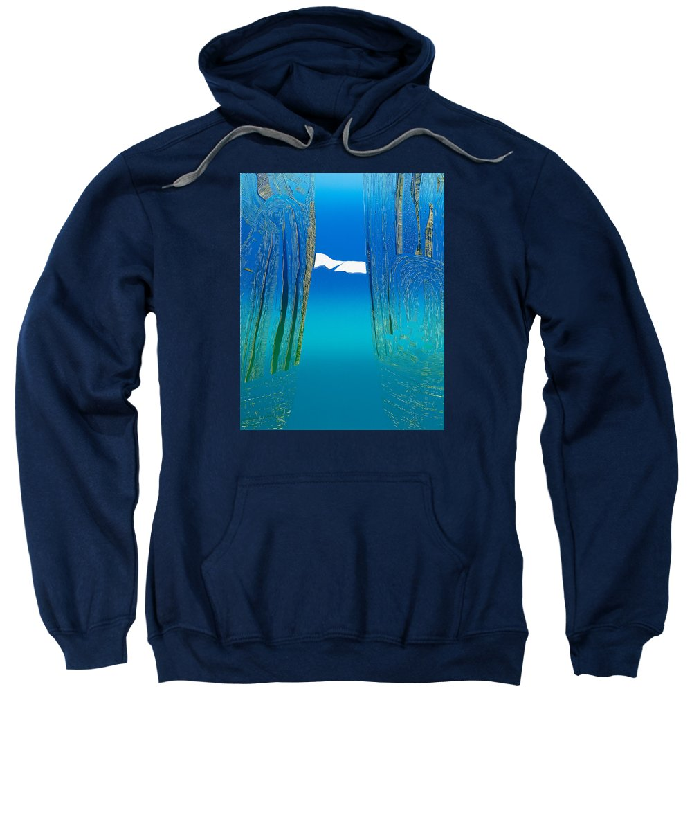 Landscape Sweatshirt featuring the mixed media Between Two Mountains. by Jarle Rosseland
