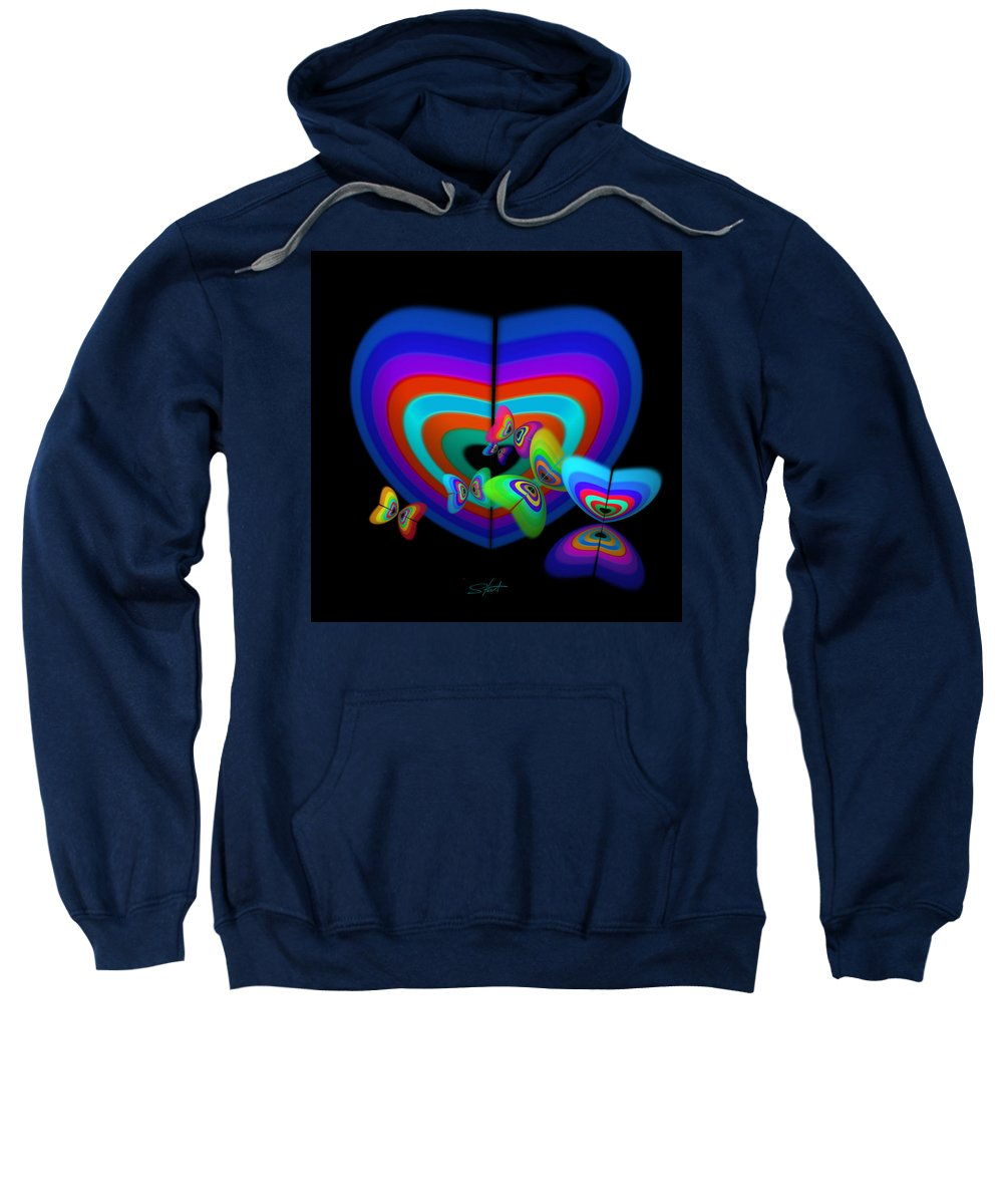 Love Sweatshirt featuring the digital art Blue Mood by Charles Stuart