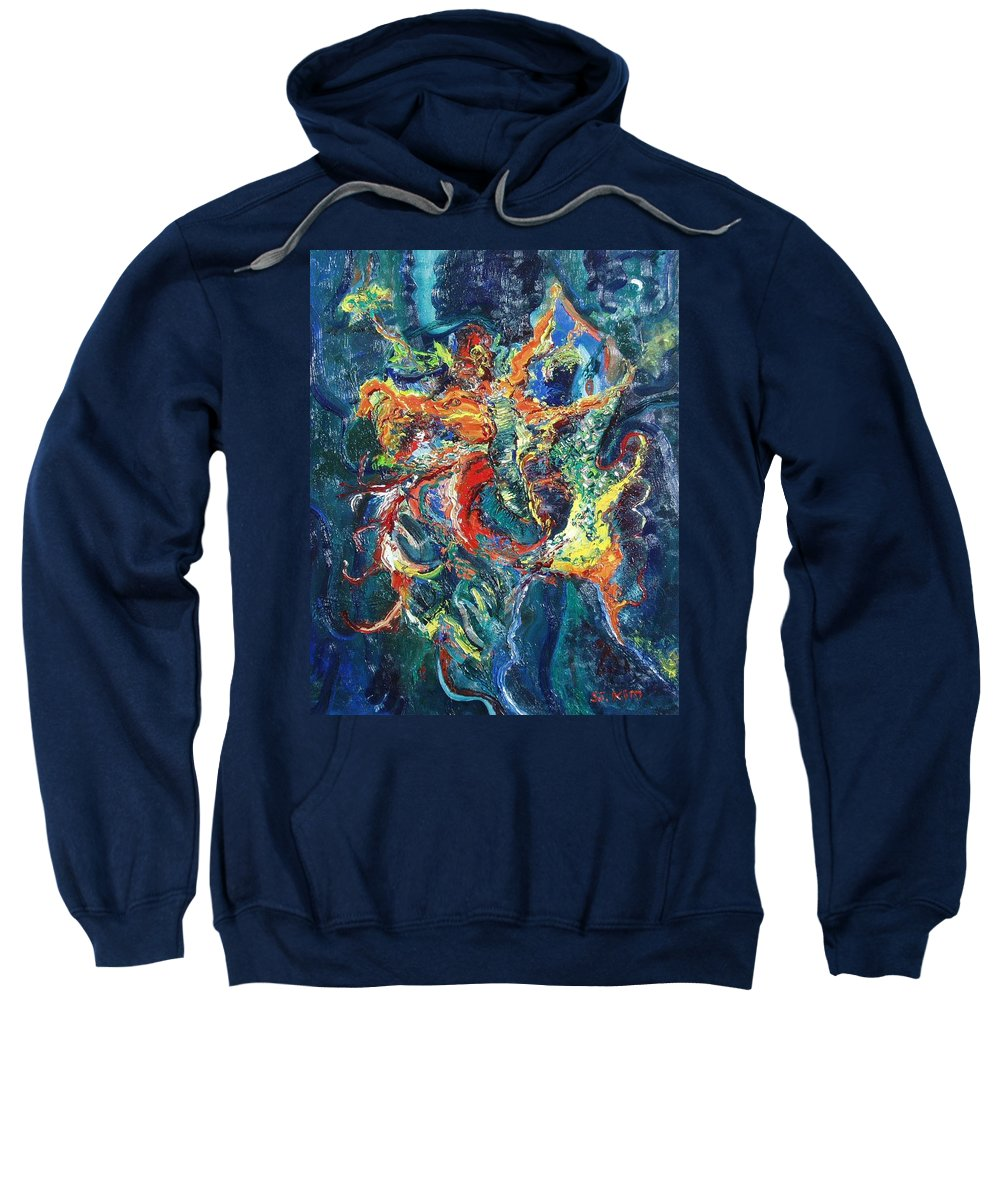 Butterfly Paintings Sweatshirt featuring the painting Dancing Butterflies by Seon-Jeong Kim