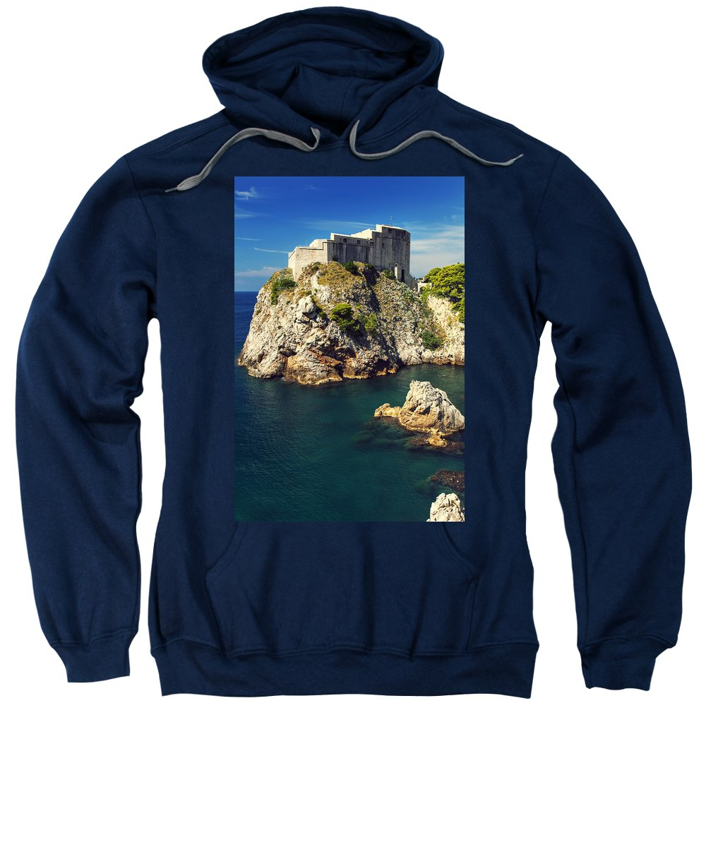 Adriatic Sweatshirt featuring the photograph Dubrovnik King's Landing Fortress by Sandra Rugina