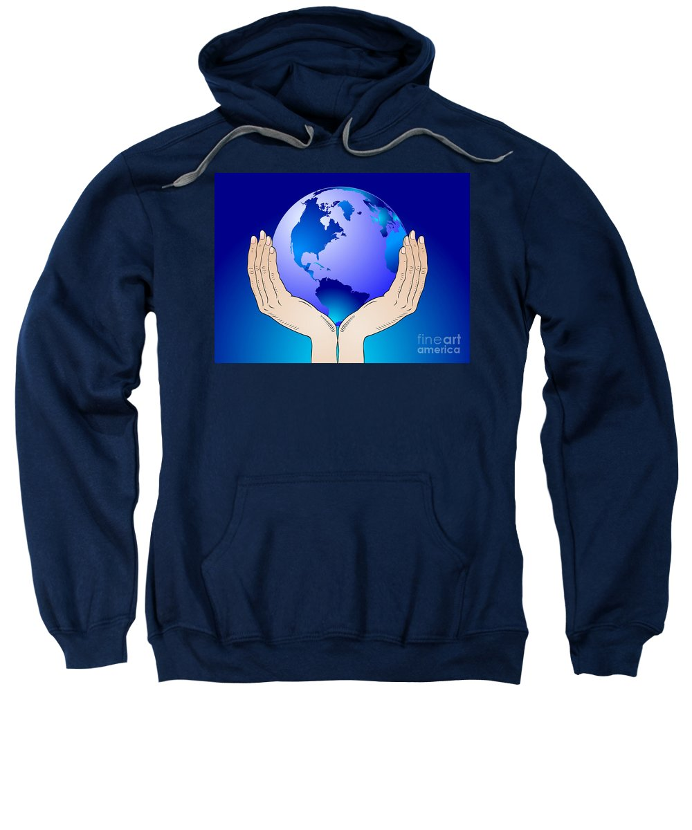 Earth Sweatshirt featuring the digital art Earth In The Your Hands by Michal Boubin