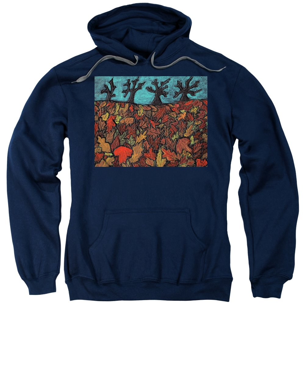 Leaves Sweatshirt featuring the painting Finding Autumn Leaves by Wayne Potrafka