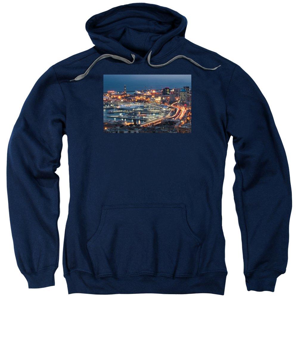 Blue Sweatshirt featuring the photograph Genoa Blue Hour by Claudio Bergero