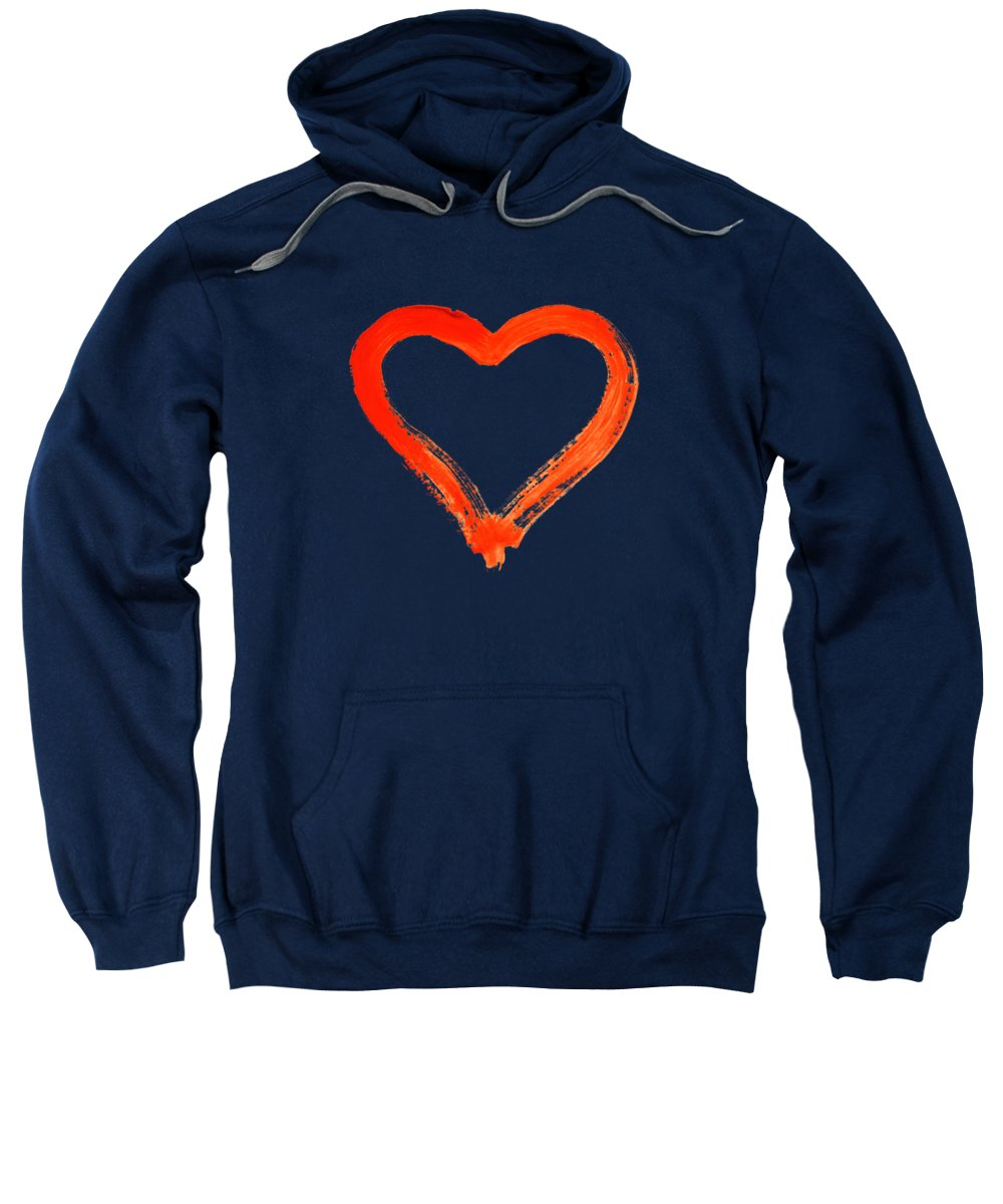 Heart Sweatshirt featuring the drawing Heart - Symbol Of Love by Michal Boubin