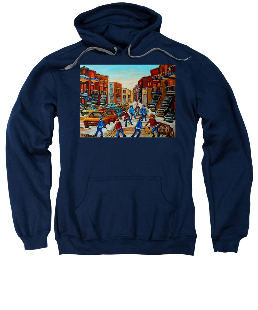 Heat Of The Game Sweatshirt featuring the painting Heat Of The Game by Carole Spandau