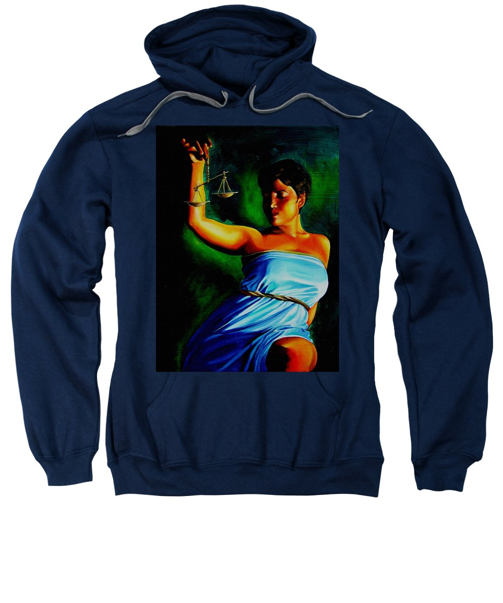 Law Art Sweatshirt featuring the painting Lady Justice by Laura Pierre-Louis