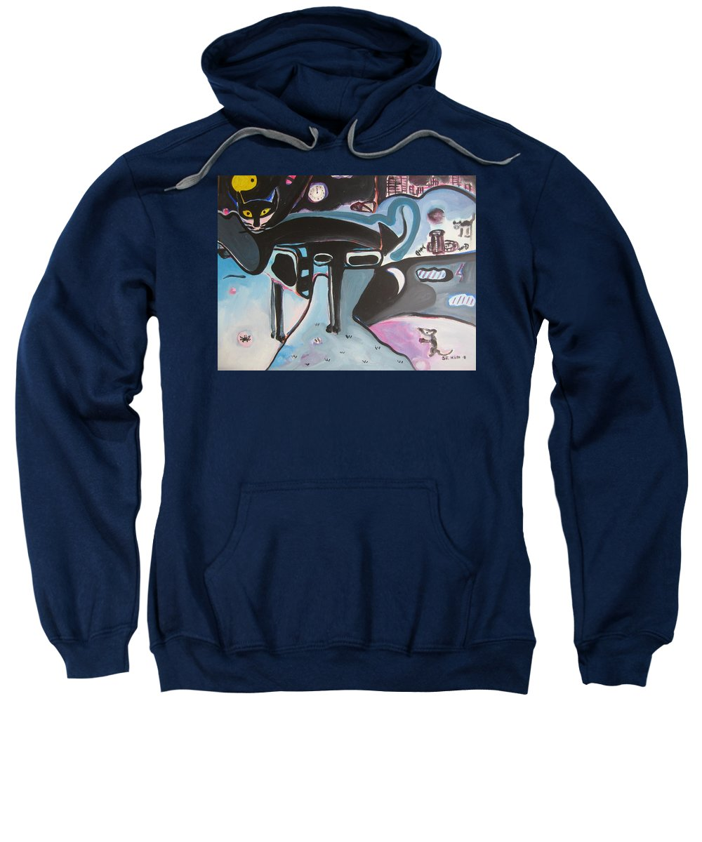 Cat Paintings Sweatshirt featuring the painting Let Me Out by Seon-Jeong Kim