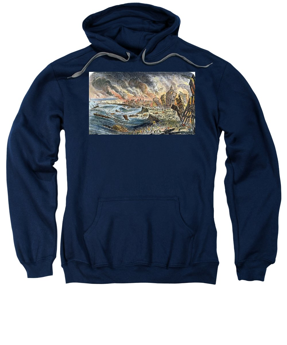1755 Sweatshirt featuring the photograph Lisbon Earthquake, 1755 by Granger
