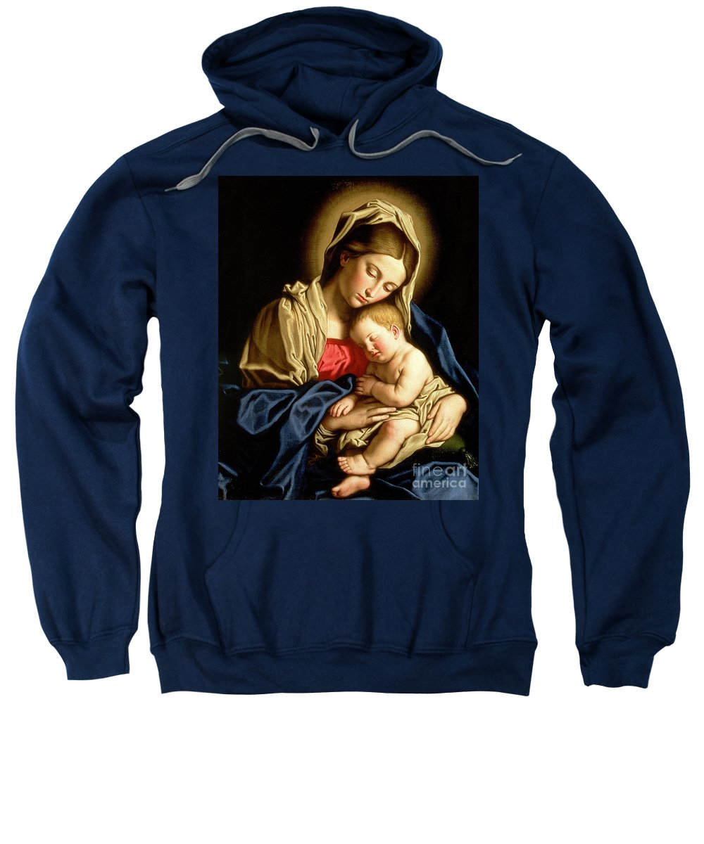 Mary Sweatshirt featuring the painting Madonna And Child by Il Sassoferrato