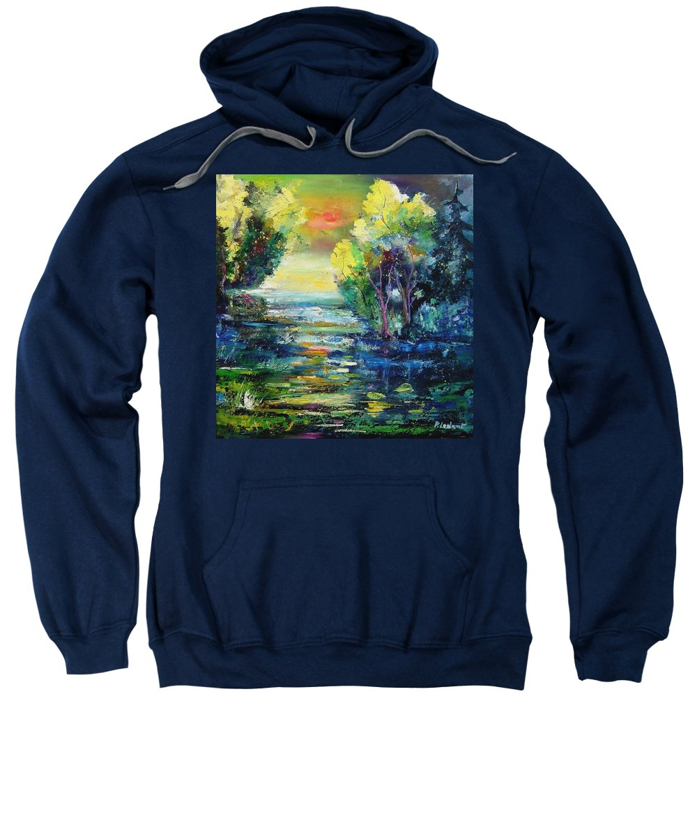 Pond Sweatshirt featuring the painting Magic pond by Pol Ledent