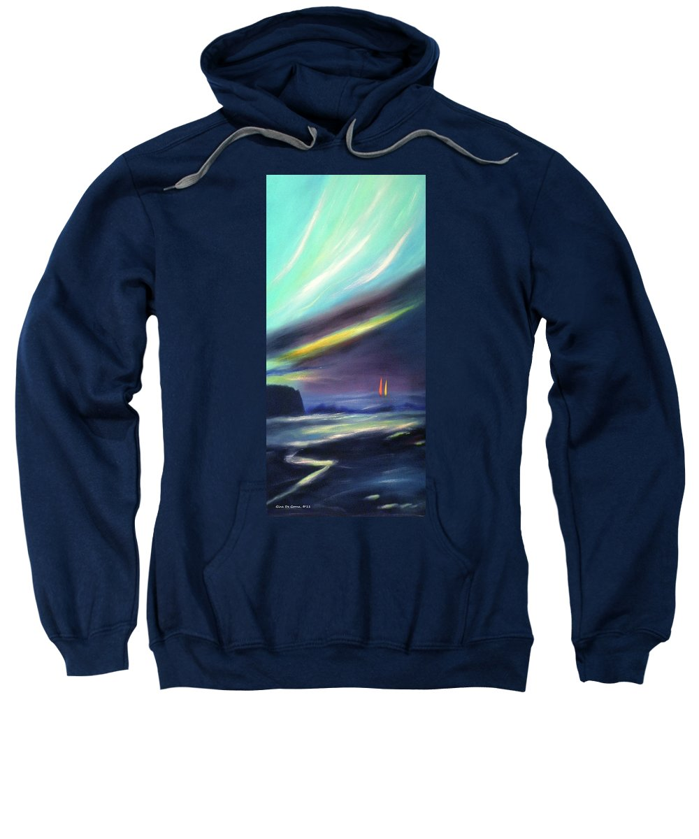 Art 2011sunset Sweatshirt featuring the painting Peace Is Colorful 2 - Vertical Painting by Gina De Gorna