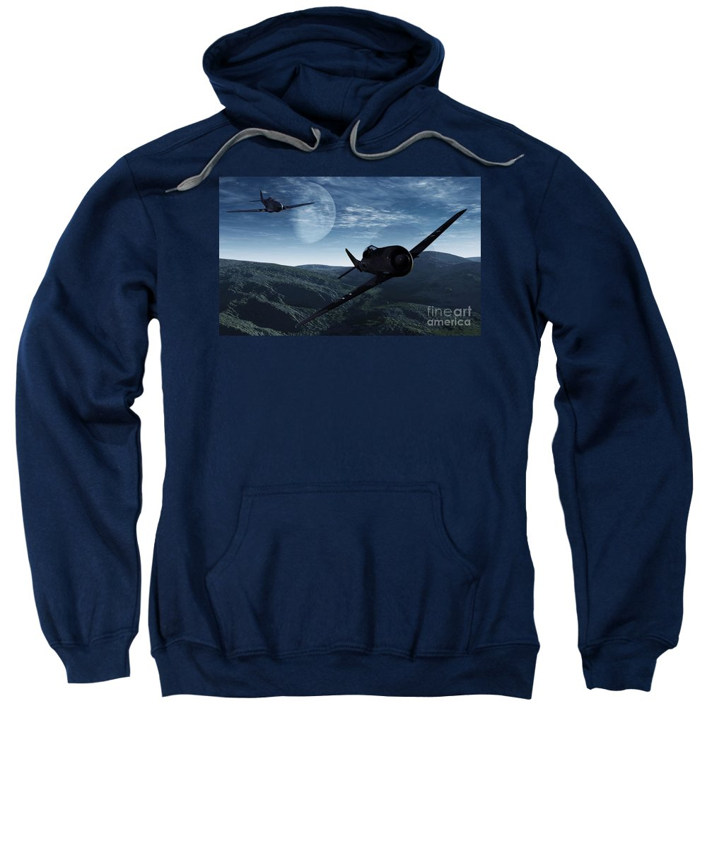 Dogfight Sweatshirt featuring the digital art Pursuit Of The Fox by Richard Rizzo